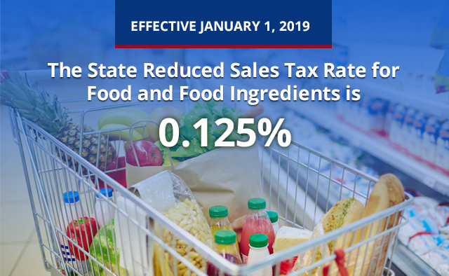 Effective January 1, 2019, the State Reduced Sales Tax Rate for Food and Food Ingredients is 0.125%