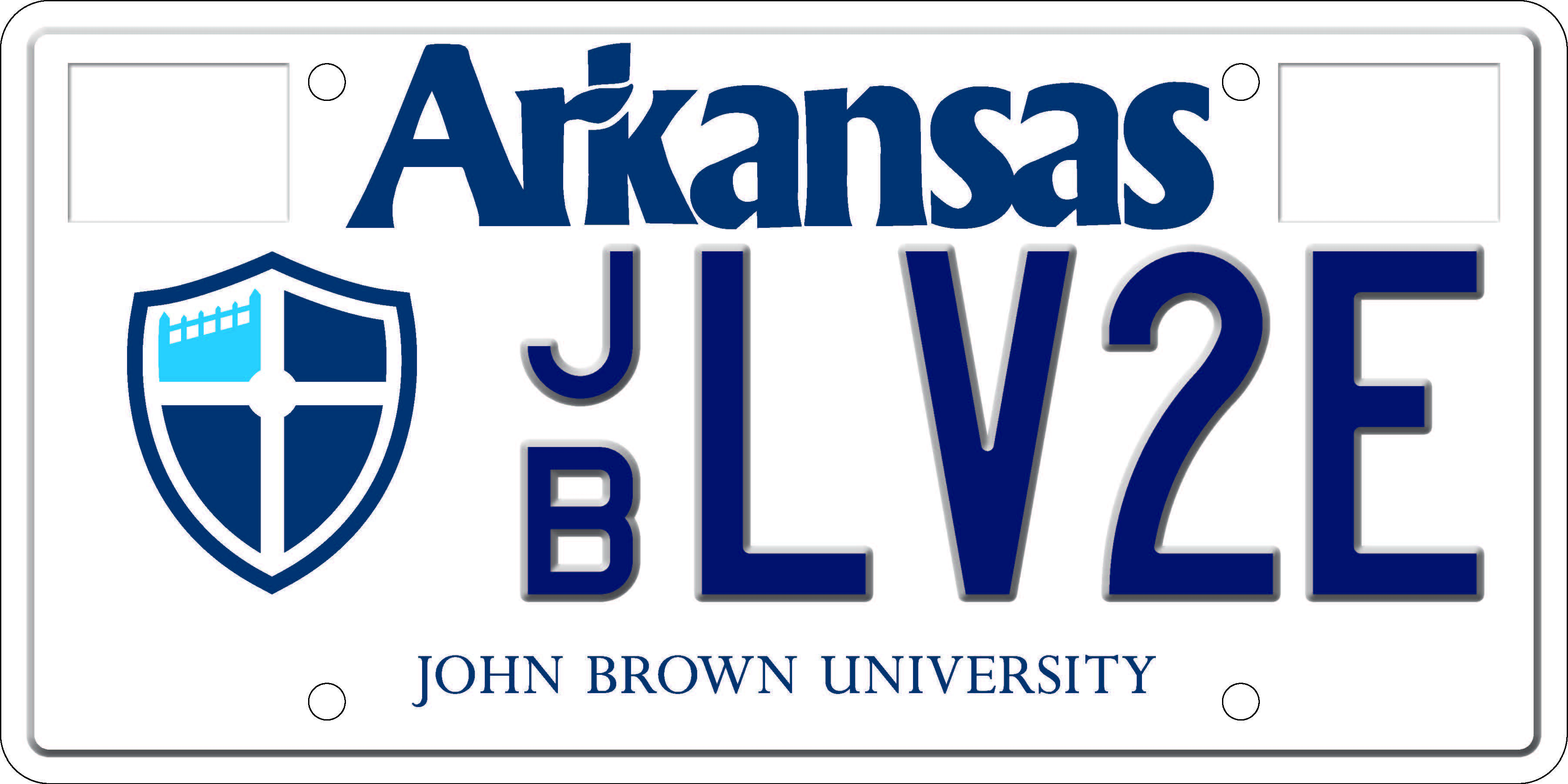 John Brown University License plate