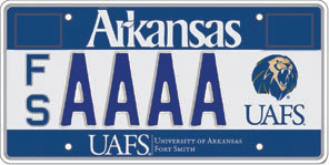 University Of Arkansas Fort Smith License Plate