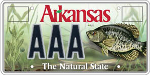 Game fish crappie fish license plate department of for Arkansas fishing license