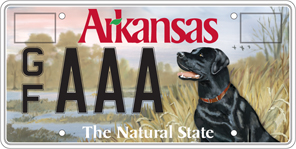 Game and fish black lab license plate department of for Fish and game licence