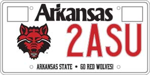 Arkansas State University License Plate