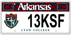 Lyon College License Plate