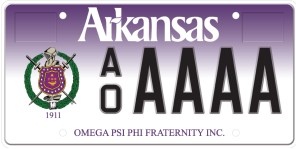 Omega PSI PHI Fraternity License Plate