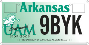 University of Arkansas at Monticello License Plate