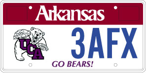 University Of Central Arkansas License Plate 1st Design